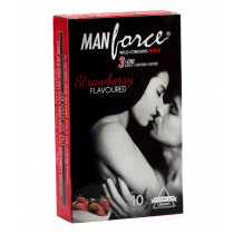 Manforce Strawberry Flavoured Condoms 10's (Pack of 10Pcs)